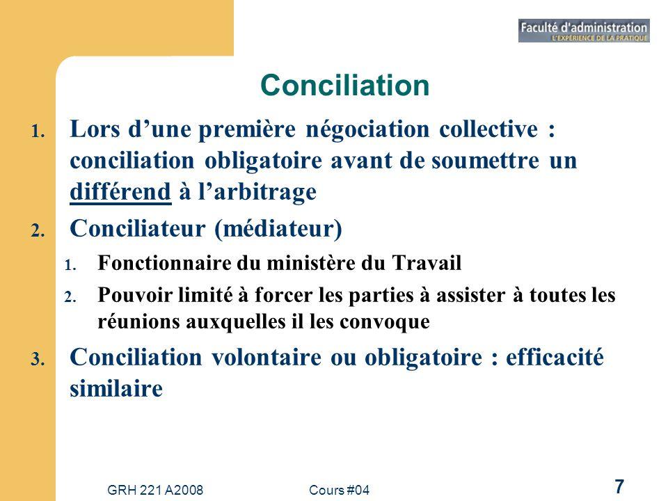 Conciliation Lors d'une première négociation collective : conciliation obligatoire avant de soumettre un différend à l'arbitrage.