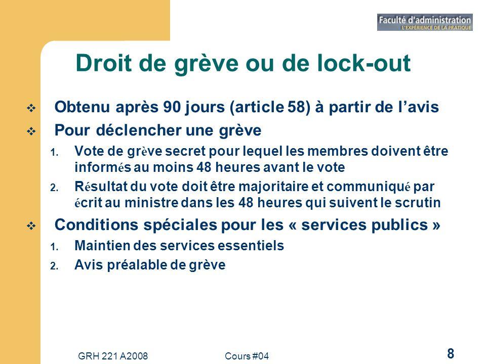 Droit de grève ou de lock-out