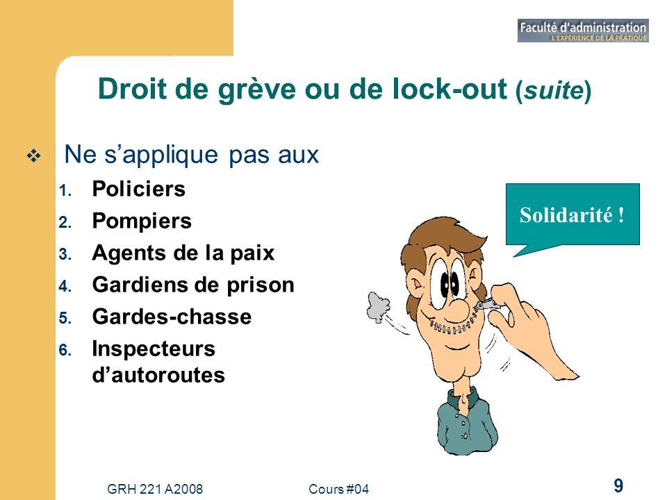 Droit de grève ou de lock-out (suite)