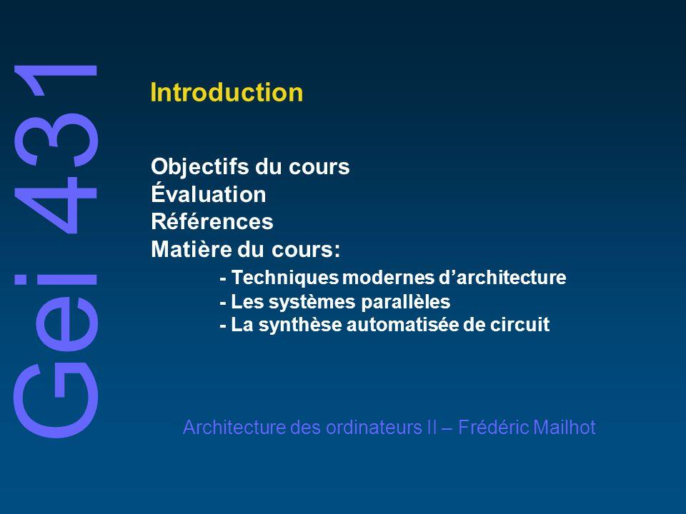 Introduction Objectifs du cours Évaluation Références