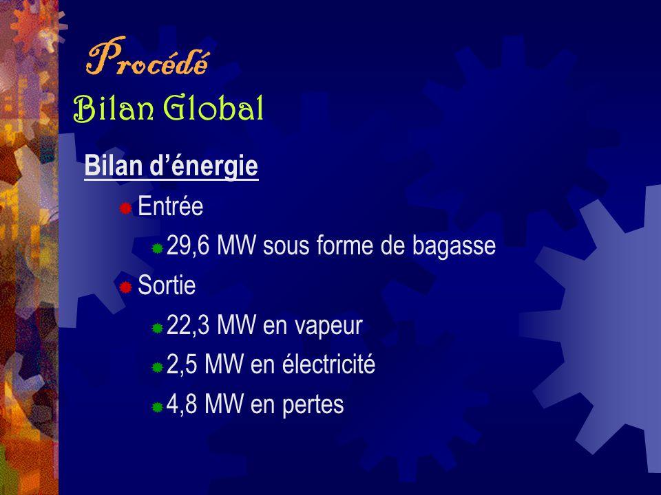 Procédé Bilan Global Bilan d'énergie Entrée