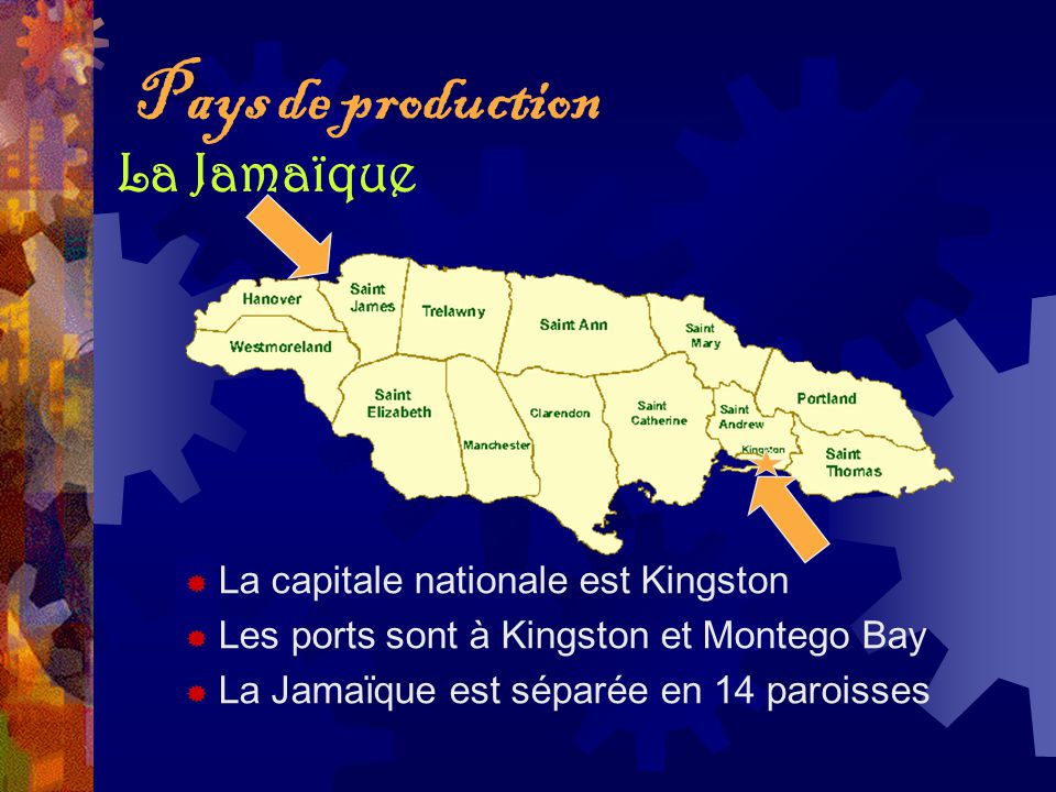 Pays de production La Jamaïque La capitale nationale est Kingston