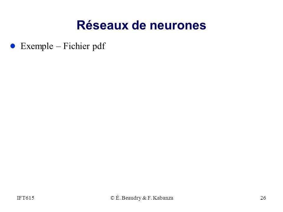 Réseaux de neurones Exemple – Fichier pdf IFT615