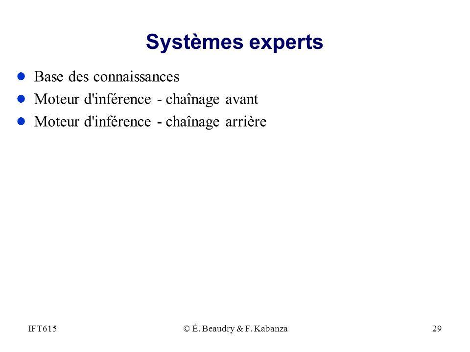Systèmes experts Base des connaissances