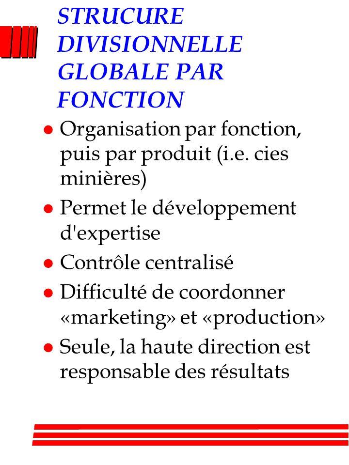STRUCURE DIVISIONNELLE GLOBALE PAR FONCTION