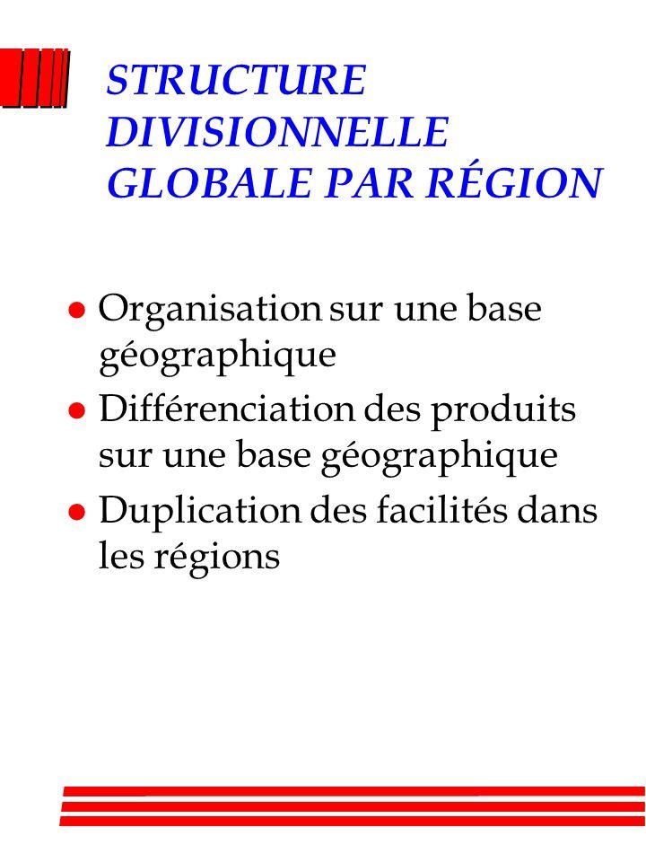 STRUCTURE DIVISIONNELLE GLOBALE PAR RÉGION