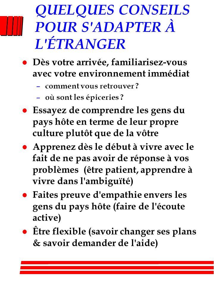 QUELQUES CONSEILS POUR S ADAPTER À L ÉTRANGER