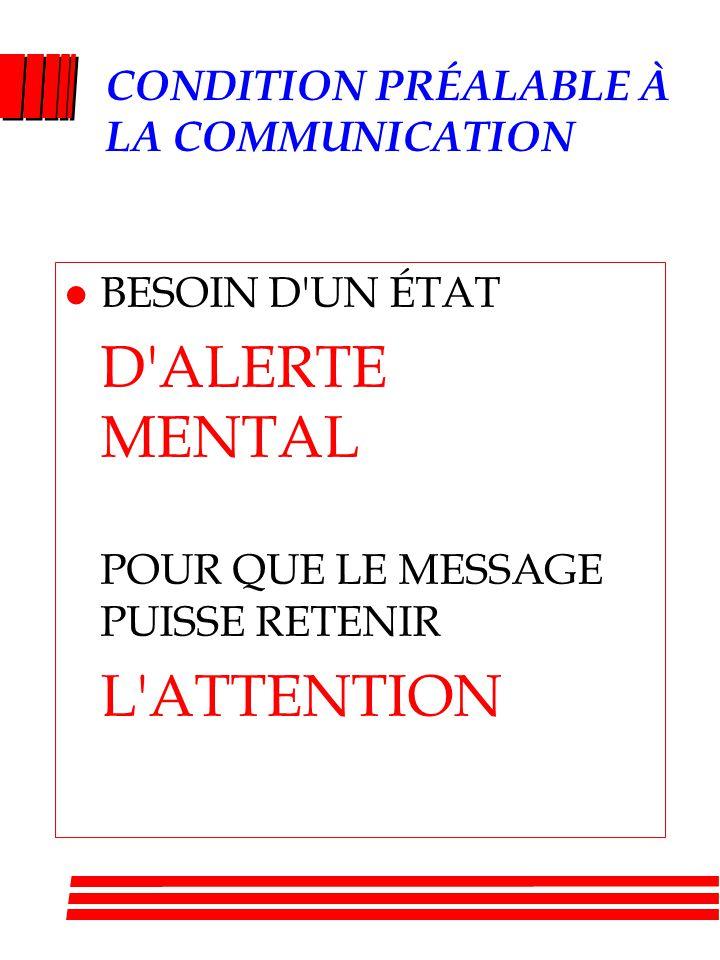 CONDITION PRÉALABLE À LA COMMUNICATION