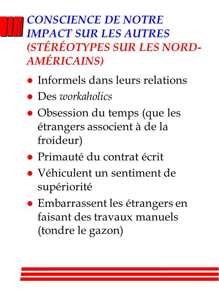 CONSCIENCE DE NOTRE IMPACT SUR LES AUTRES (STÉRÉOTYPES SUR LES NORD-AMÉRICAINS)