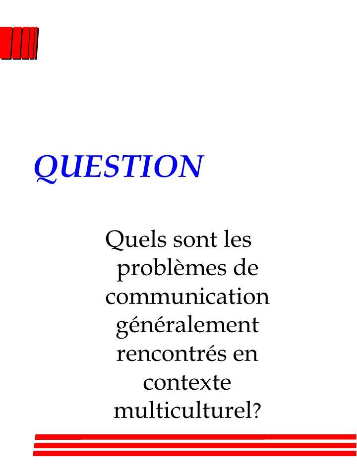 QUESTION Quels sont les problèmes de communication généralement rencontrés en contexte multiculturel