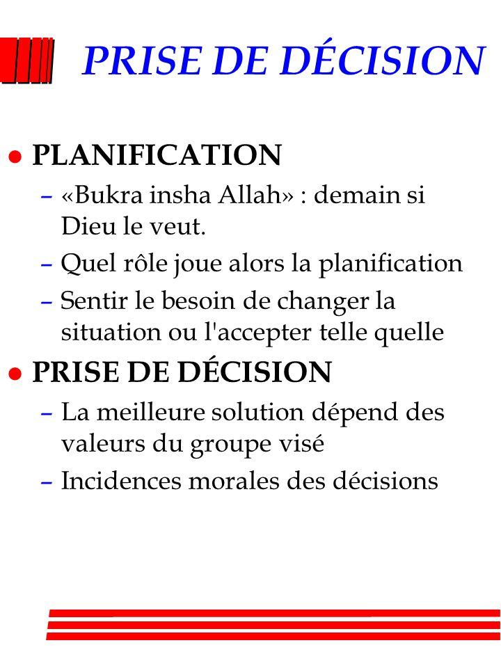 PRISE DE DÉCISION PLANIFICATION PRISE DE DÉCISION