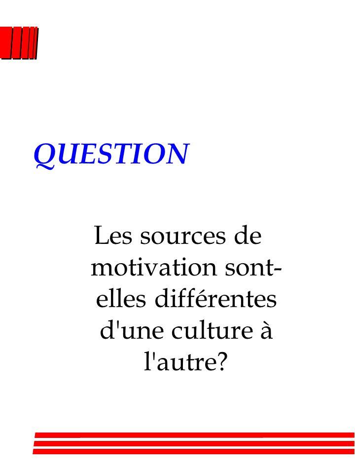 QUESTION Les sources de motivation sont-elles différentes d une culture à l autre