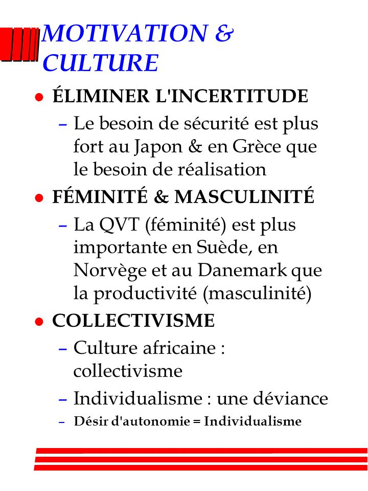 MOTIVATION & CULTURE ÉLIMINER L INCERTITUDE