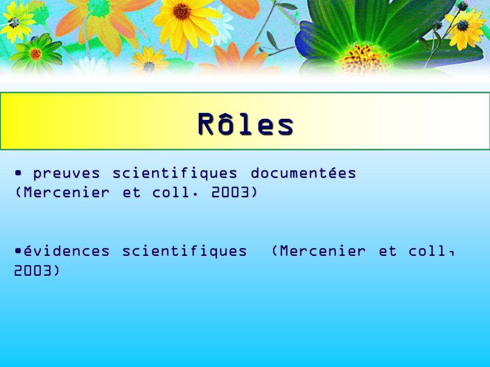 Rôles preuves scientifiques documentées (Mercenier et coll. 2003)
