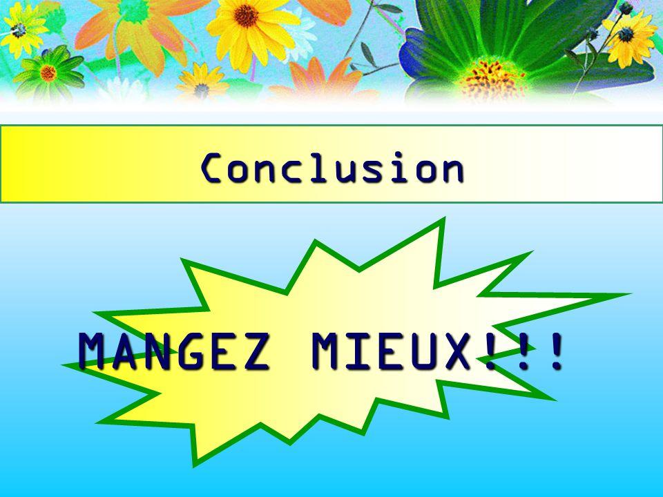 Conclusion MANGEZ MIEUX!!!