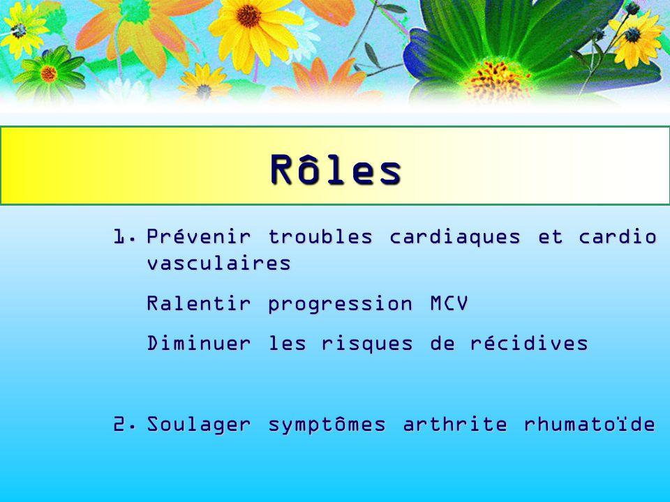Rôles 1. Prévenir troubles cardiaques et cardio vasculaires