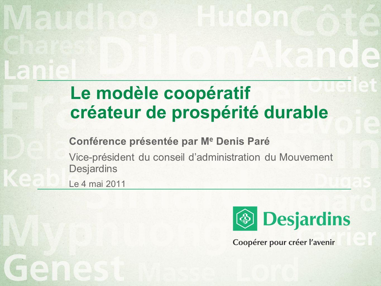 Le modèle coopératif créateur de prospérité durable