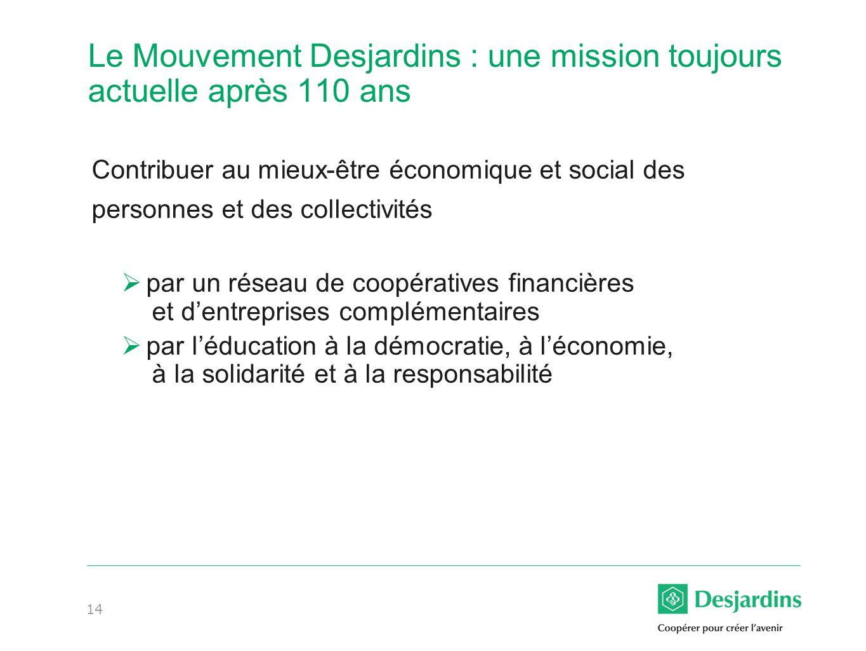 Le Mouvement Desjardins : une mission toujours actuelle après 110 ans