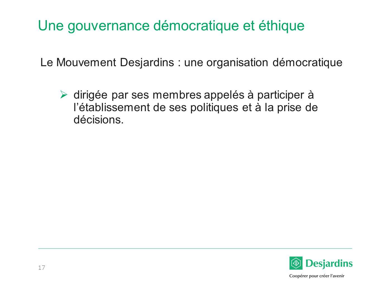 Une gouvernance démocratique et éthique