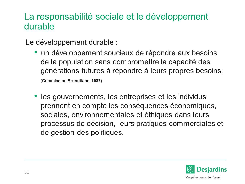 La responsabilité sociale et le développement durable
