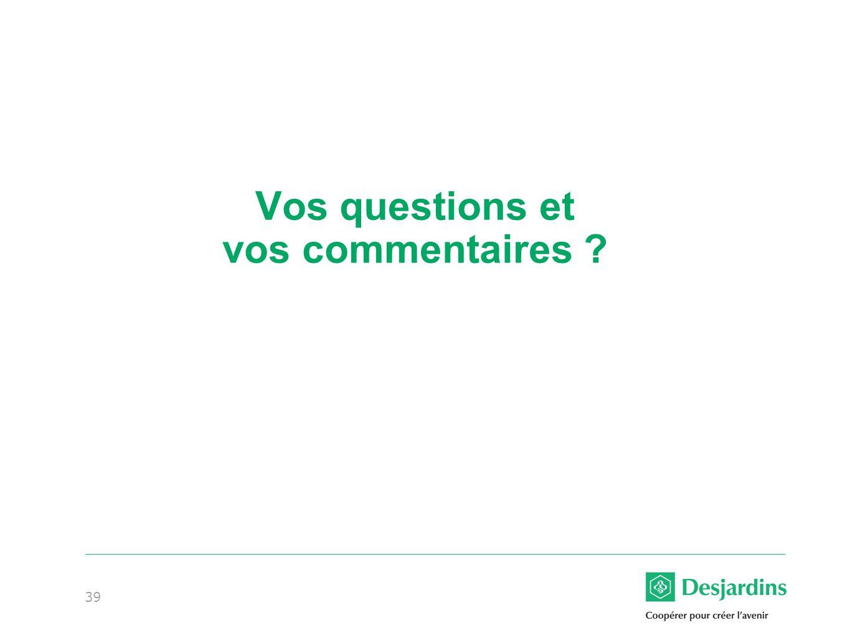 Vos questions et vos commentaires