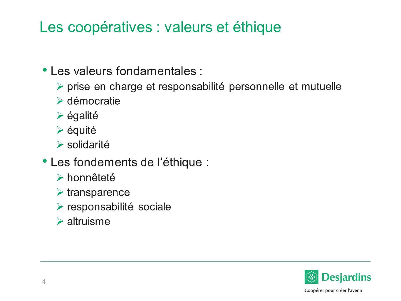 Les coopératives : valeurs et éthique