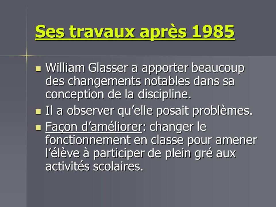 Ses travaux après 1985 William Glasser a apporter beaucoup des changements notables dans sa conception de la discipline.