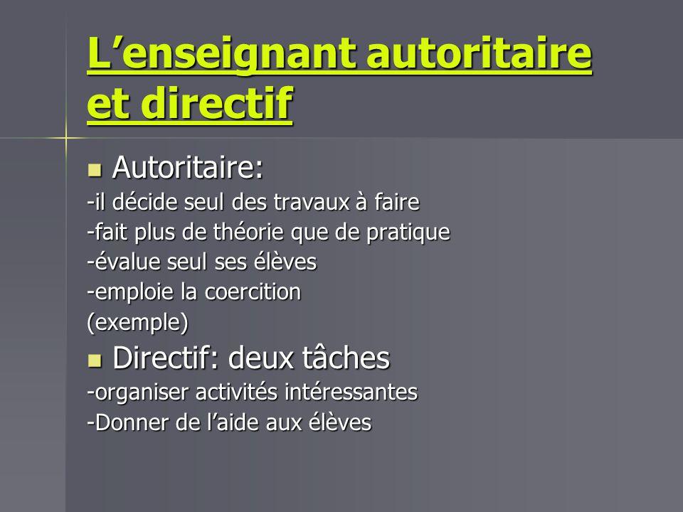 L'enseignant autoritaire et directif