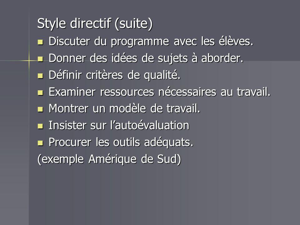 Style directif (suite)