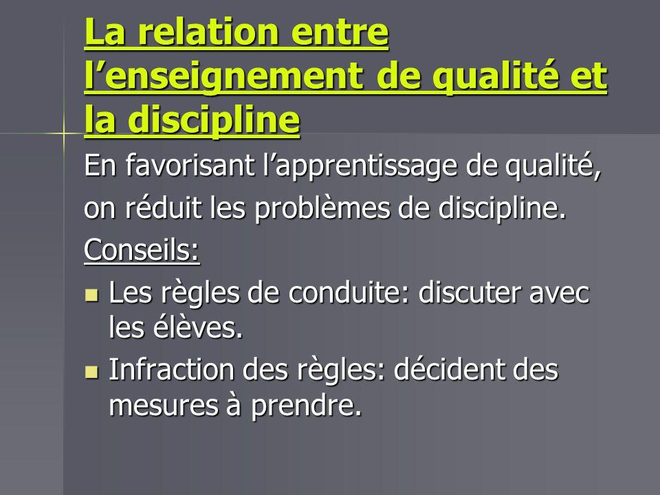 La relation entre l'enseignement de qualité et la discipline