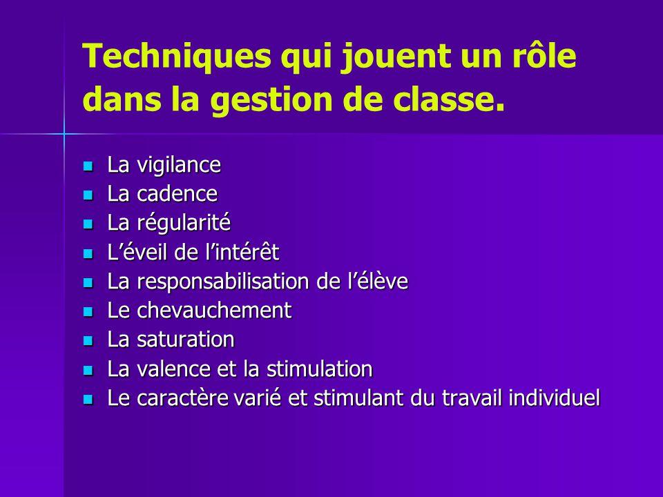 Techniques qui jouent un rôle dans la gestion de classe.