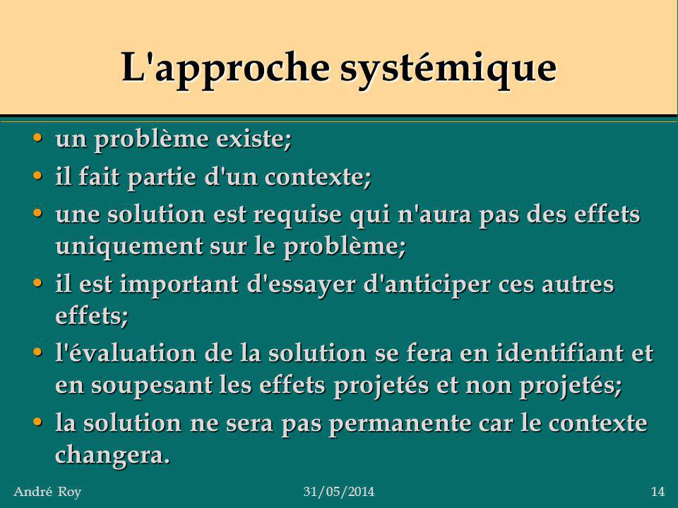 L approche systémique un problème existe;