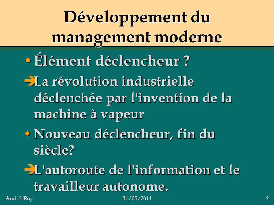 Développement du management moderne