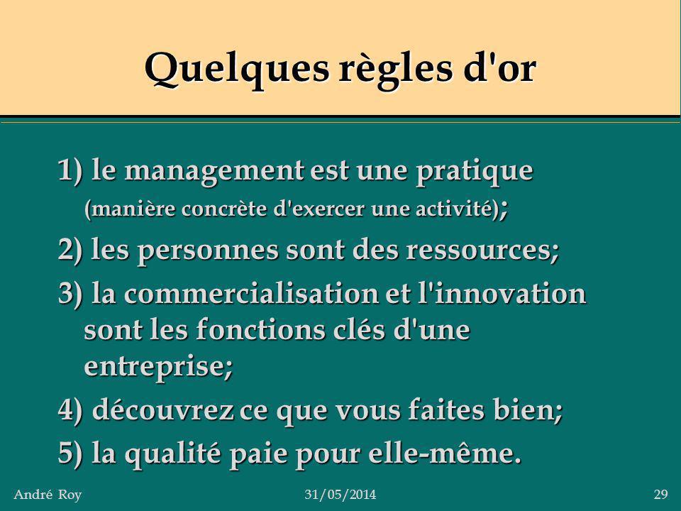 Quelques règles d or 1) le management est une pratique (manière concrète d exercer une activité); 2) les personnes sont des ressources;