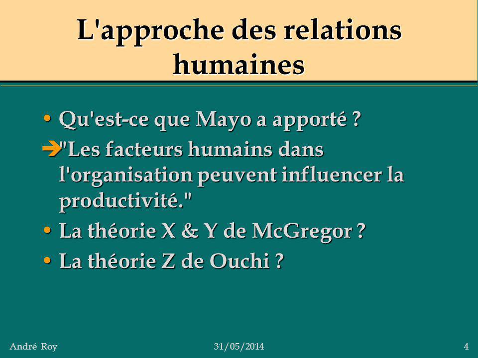 L approche des relations humaines