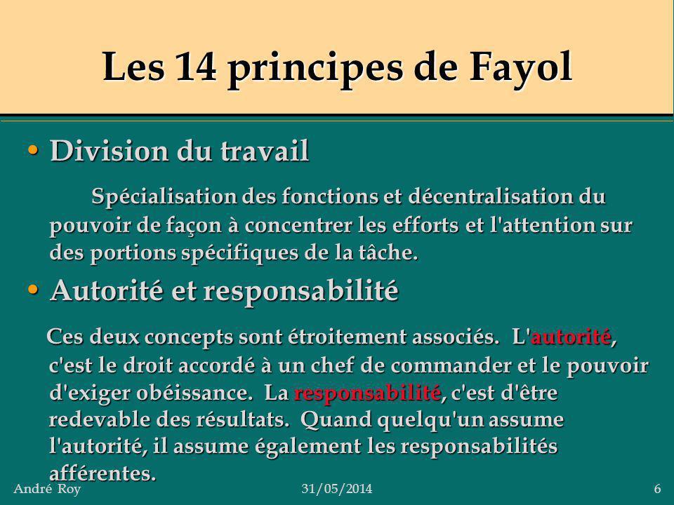 Les 14 principes de Fayol Division du travail