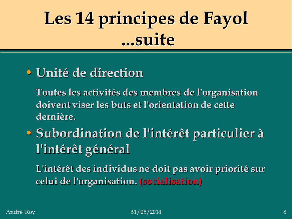 Les 14 principes de Fayol ...suite
