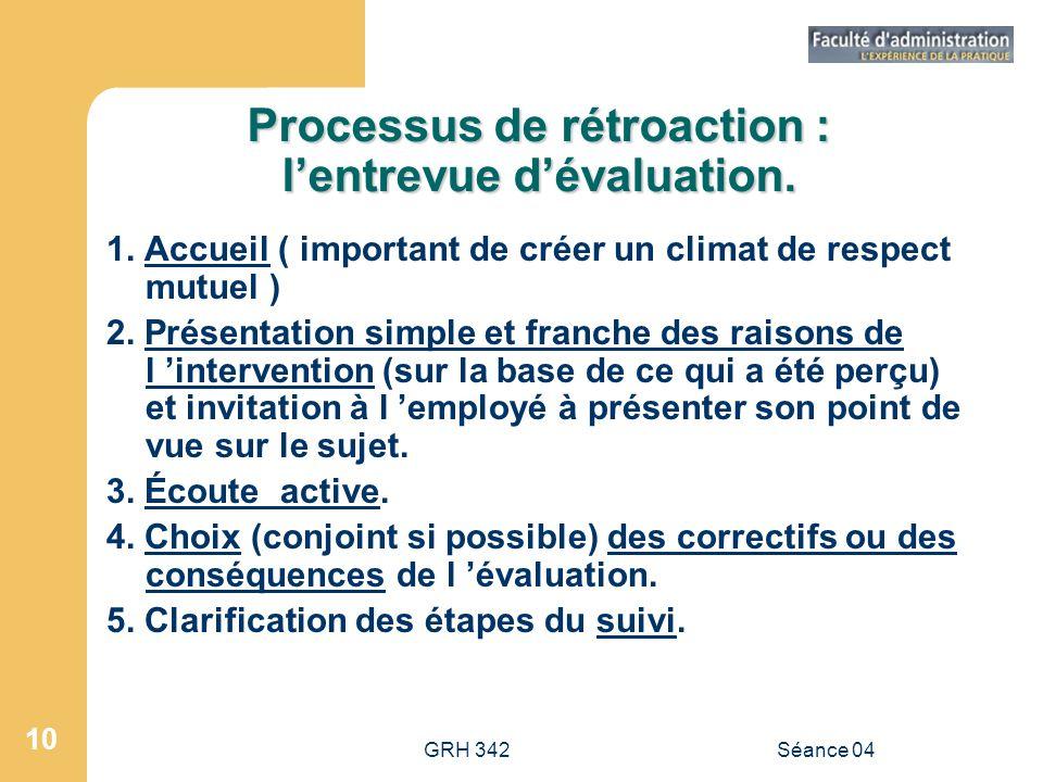 Processus de rétroaction : l'entrevue d'évaluation.