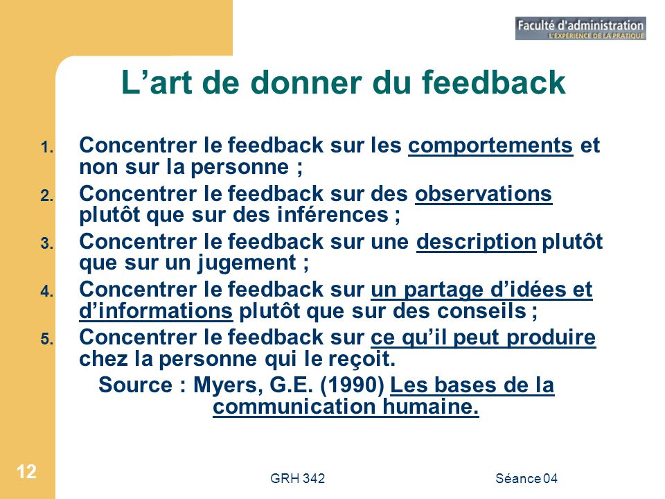 L'art de donner du feedback