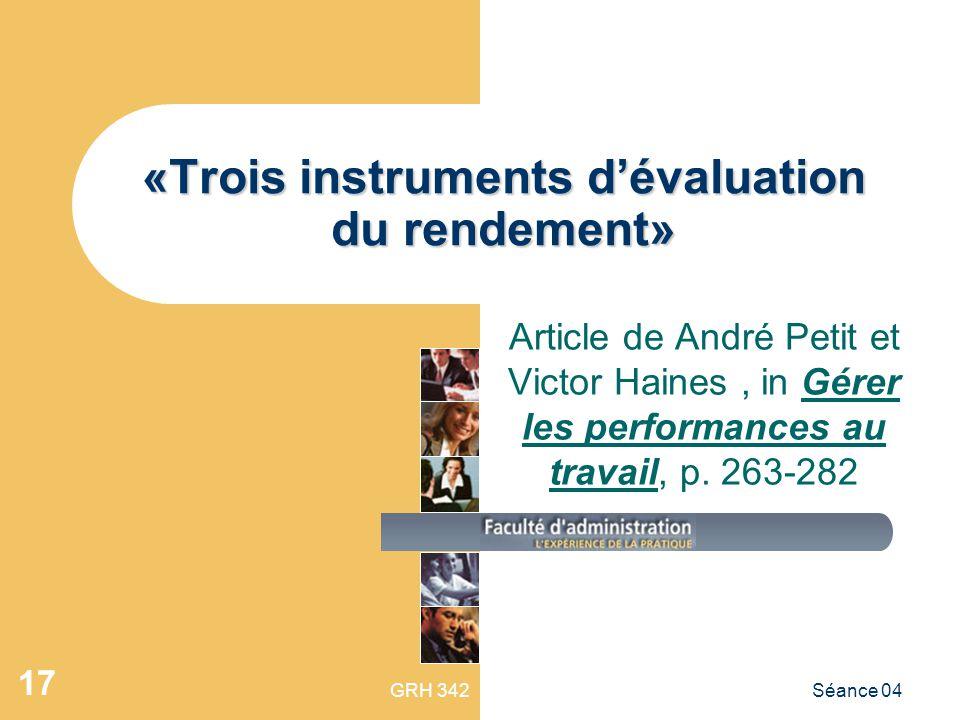 «Trois instruments d'évaluation du rendement»