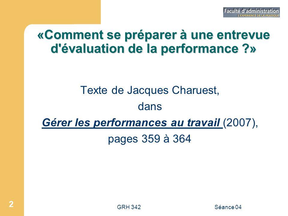 «Comment se préparer à une entrevue d évaluation de la performance »