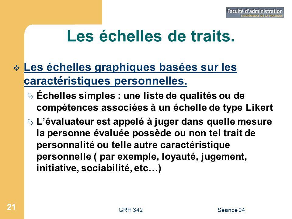 Les échelles de traits. Les échelles graphiques basées sur les caractéristiques personnelles.