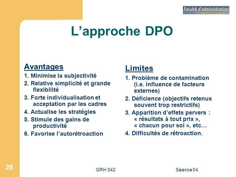 L'approche DPO Avantages Limites 1. Minimise la subjectivité