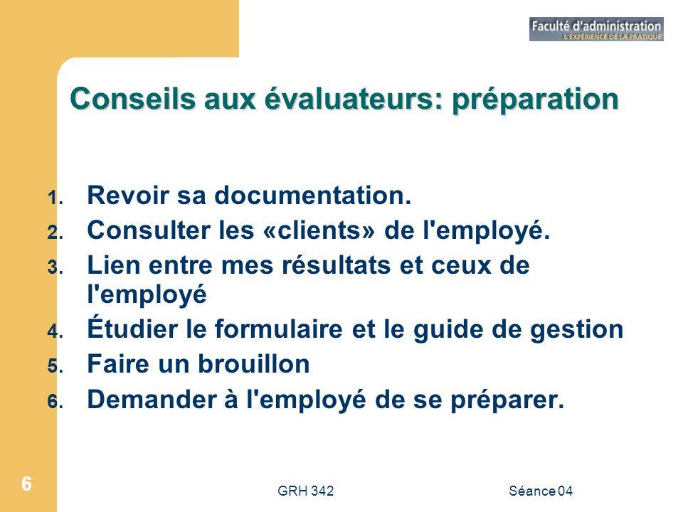 Conseils aux évaluateurs: préparation