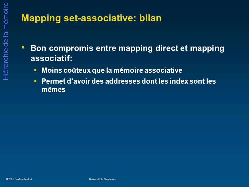 Mapping set-associative: bilan