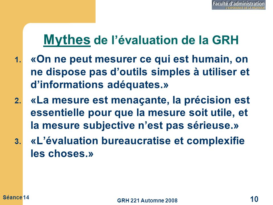 Mythes de l'évaluation de la GRH