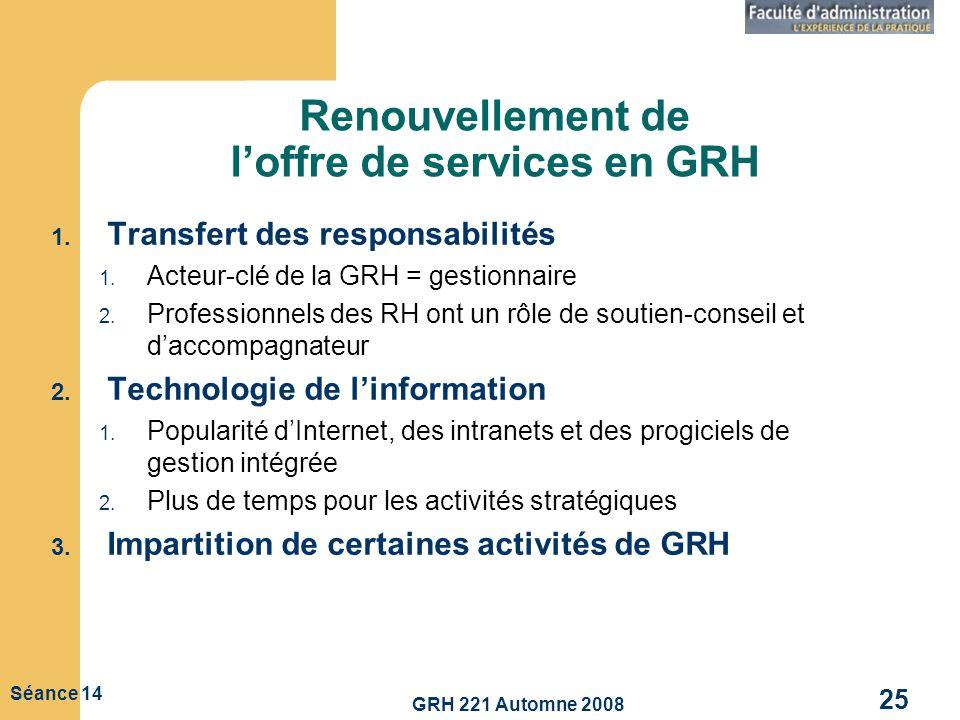 Renouvellement de l'offre de services en GRH