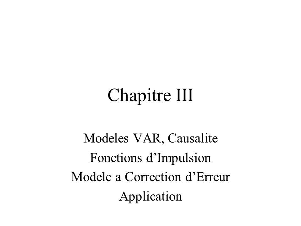 Chapitre III Modeles VAR, Causalite Fonctions d'Impulsion