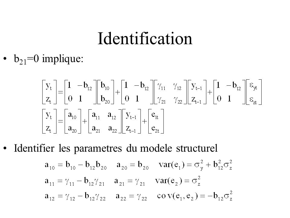 Identification b21=0 implique: