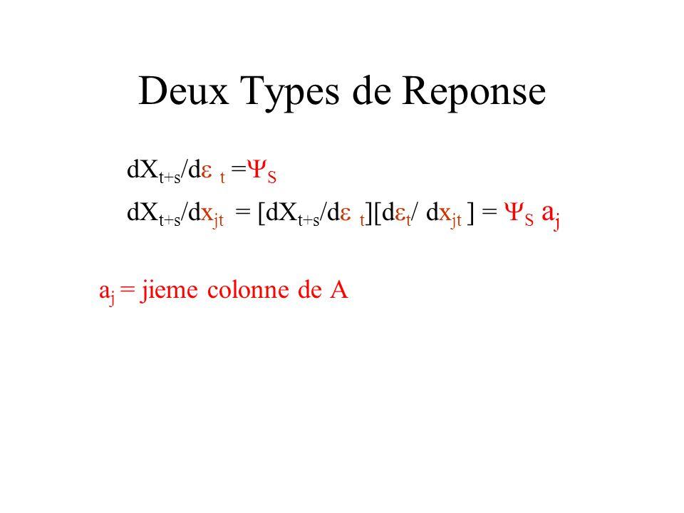 Deux Types de Reponse dXt+s/d t =S
